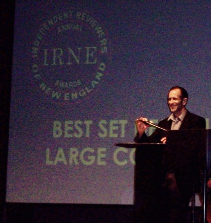 Bill Clarke accepts the award for Best Scenic Design